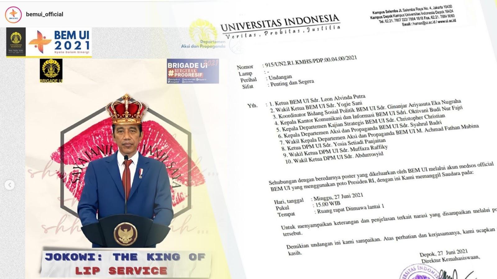 Waduh! Buntut Postingan 'Jokowi The King of Lip Service', Rektorat Panggil BEM UI