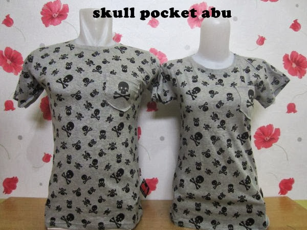 all size, cotton combed, Kaos Couple, Kaos Couple Murah, murah, Abu-Abu, skull pocket, warna,