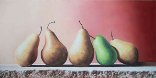 "Five Pears on Flagstone 30"" by 40"" oil on canvas. Artist Judy Prisoc"