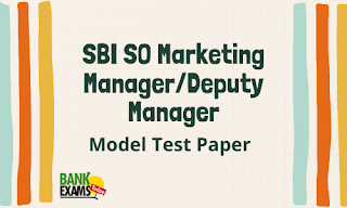 SBI SO Marketing Manager/Deputy Manager Model Test Paper