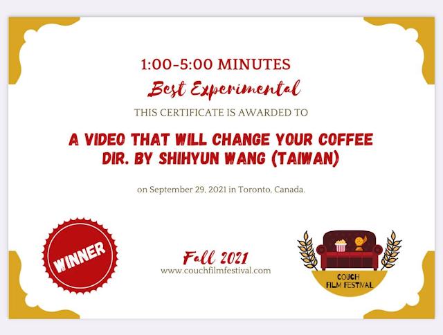 [加拿大Couch film festival寶座電影展]  參展:2021年7~9月 影片:三分鐘質能轉換 得奬:最佳實驗電影奨 https://vimeo.com/594670127/1fcefd9661 內容:台灣氣功大師萬真師父透過宇宙能量、只要準備酒或咖啡...打開影片視頻觀看影片酒或咖啡就會接收到能量味道改變。 製作:王世昀導演 主播:王世昀導演