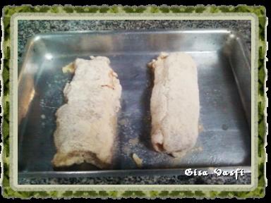 Frango empanado recheado