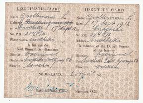 Persoonspas van H. Grolleman als onderdeel van het niet-strijdend gedeelte van de Nederlandse Binnenlandse Strijdkrachten, NBS in Enschede. Uitgeschreven een dag na de bevrijding van Enschede. 2 april 1945.