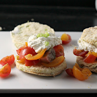 Tomato Scallion Shortcakes with Whipped Goat Cheese Recipe