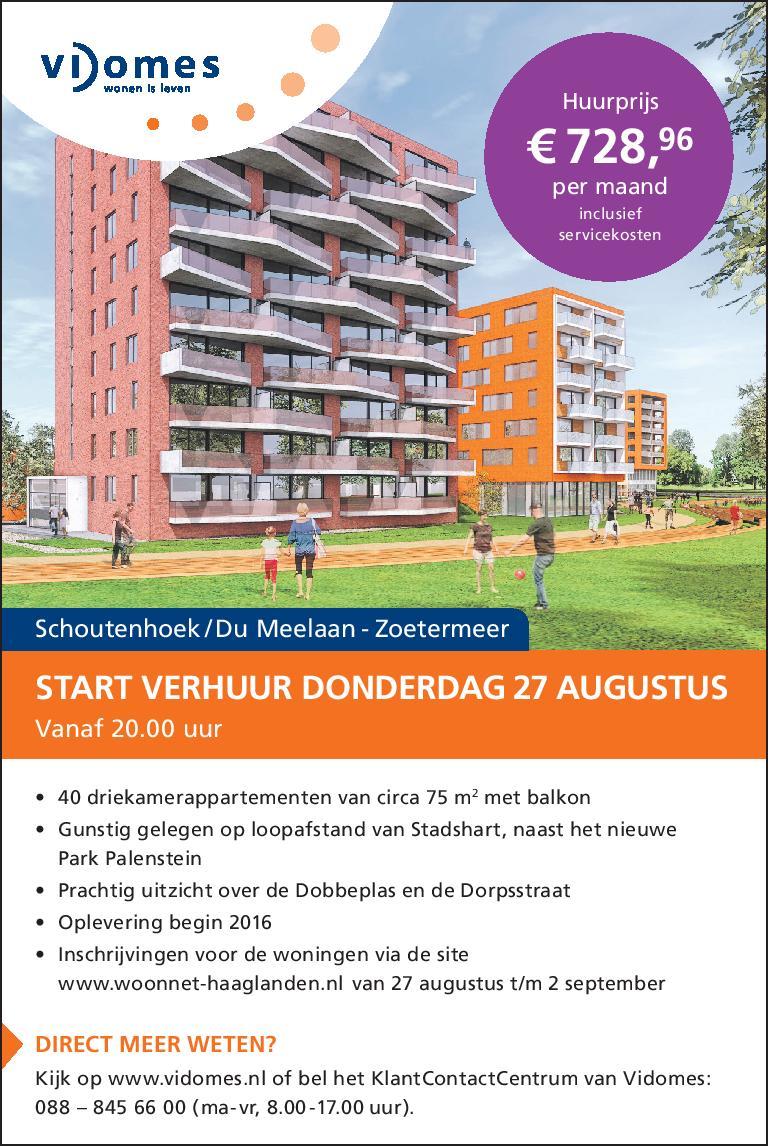 Advertentie project 'Schoutenhoek' in Zoetermeer voor Vidomes. Door: www.zuurstof.nl