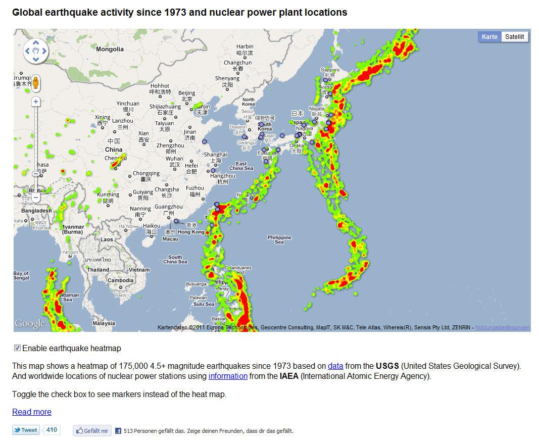 Interaktive Weltkarte der Erdbebengebiete um Atomkraftwerke der ... - Atomkraftwerke In Deutschland Karte