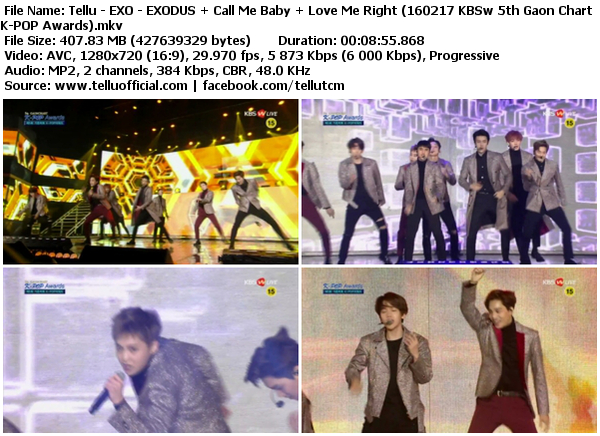 Download [Perf] EXO – EXODUS + Call Me Baby + Love Me Right @ KBSw