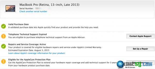 Xem thời hạn bảo hành macbook cũ