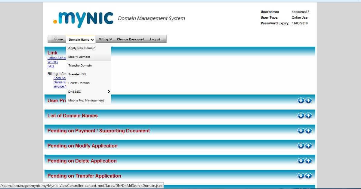 MyNic Modify Domain Menu