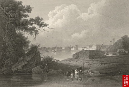 Part of Dhaka from the Douillac Nulla (Dholai Khal) by D'Oyly in 1826