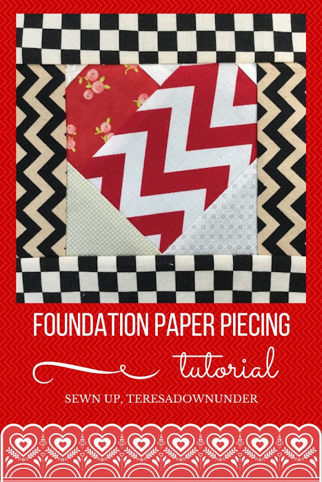 Video tutorial: foundation paper piecing for beginners - Heart free pattern