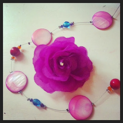fuchsia accessories including a handmade necklace
