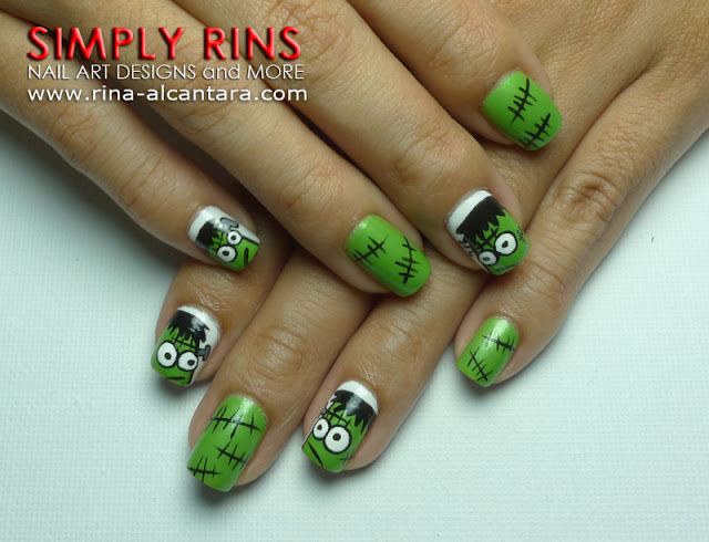 Four Frankenstein Nail Art Design