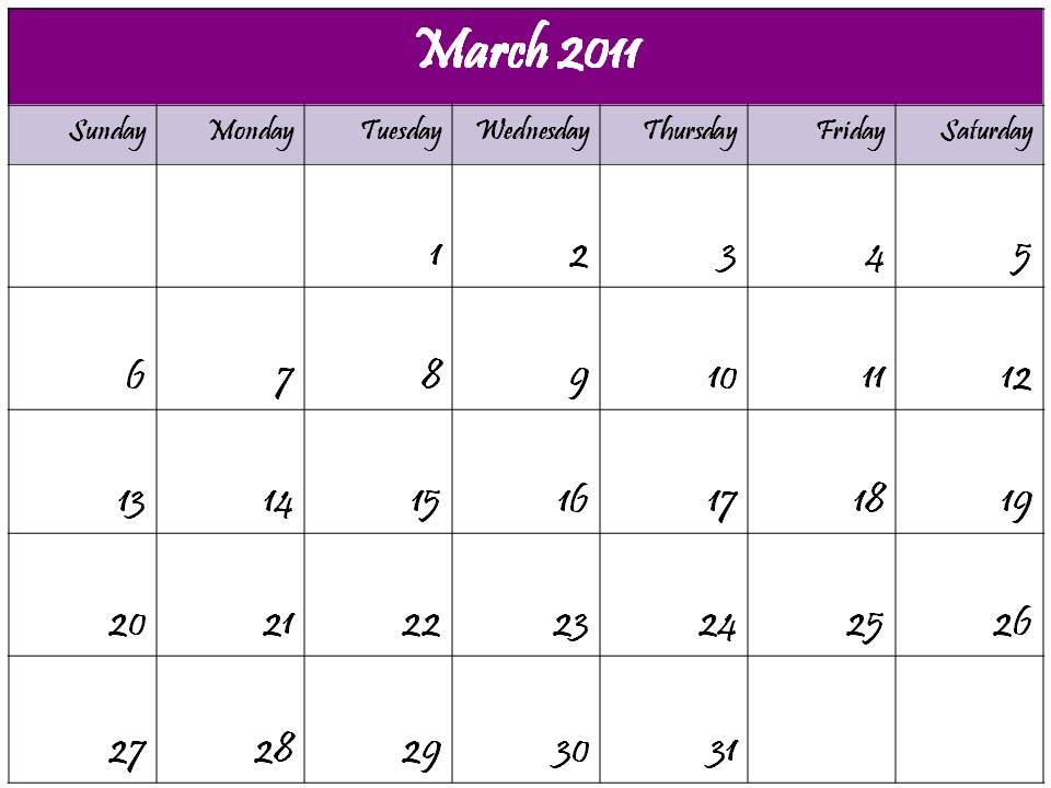 2011 calendar nz. blank march 2011 calendar