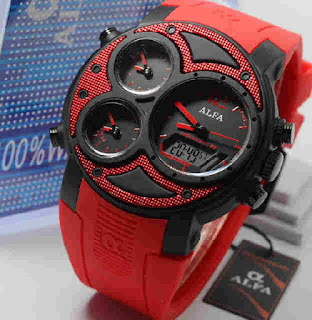 jam tangan Alfa original 047 Red rubber ring black