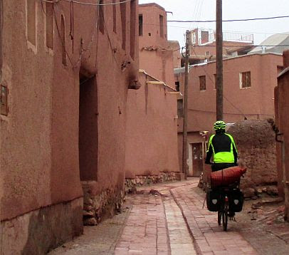 Chris on the Bike in Abyaneh