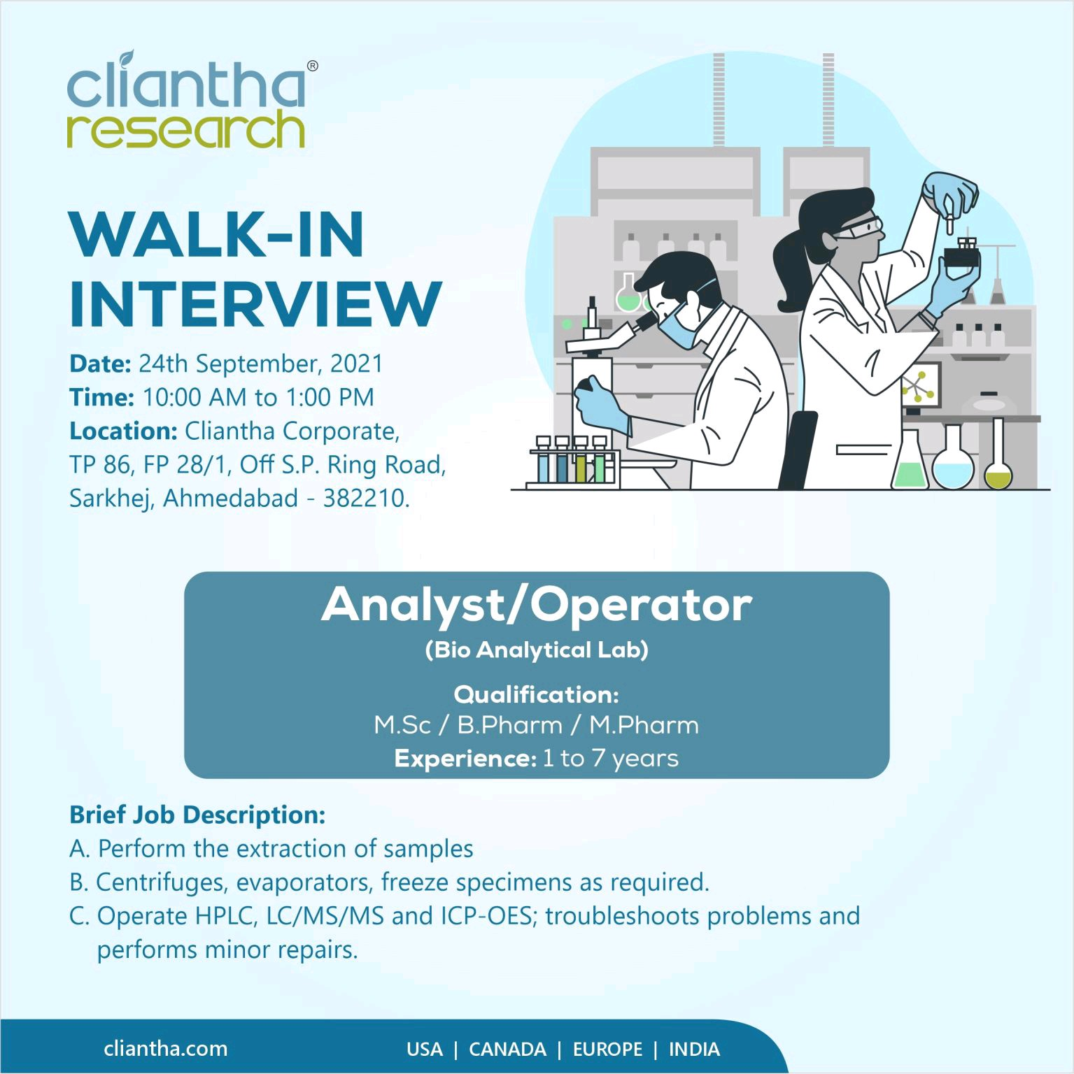 Opening For Bio-Analytical Analyst At Cliantha Research