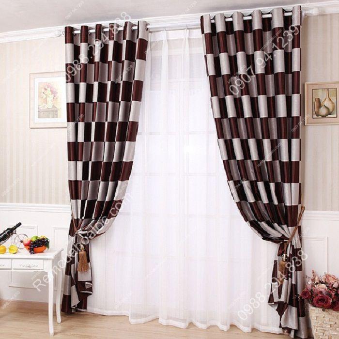 Rèm cửa đẹp cao cấp họa tiết bàn cờ 12