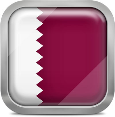 Qatar square flag with metallic frame