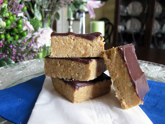 no bake peanut butter bars in a stack