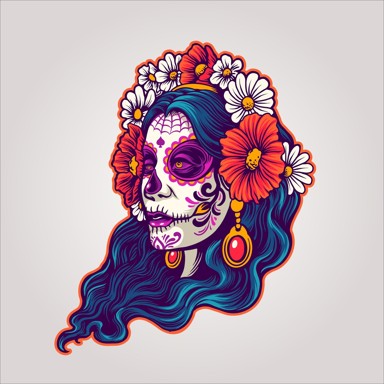 Dia Muertos Girl And Flower Free Download Vector CDR, AI, EPS and PNG Formats