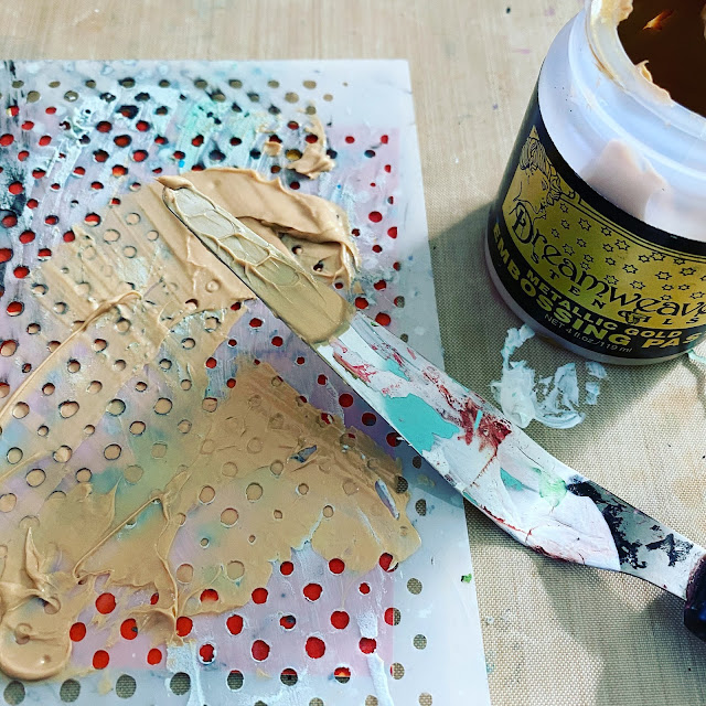 Gold Metallic Embossing paste through a dot stencil for card making background
