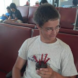 Impromptu Birthday Cupcake for Matthew with Twizzler candle at the Atlanta Airport.