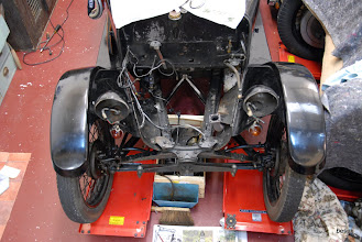Photo: this shows some of the modifications made to create a 1928 car with a later chassis