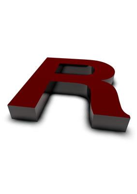lettre 3D rouge de Chine - R - images libres de droit