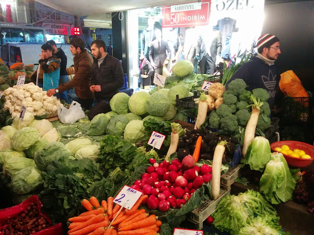 Shopping at local Turkish bazaars for vegetables