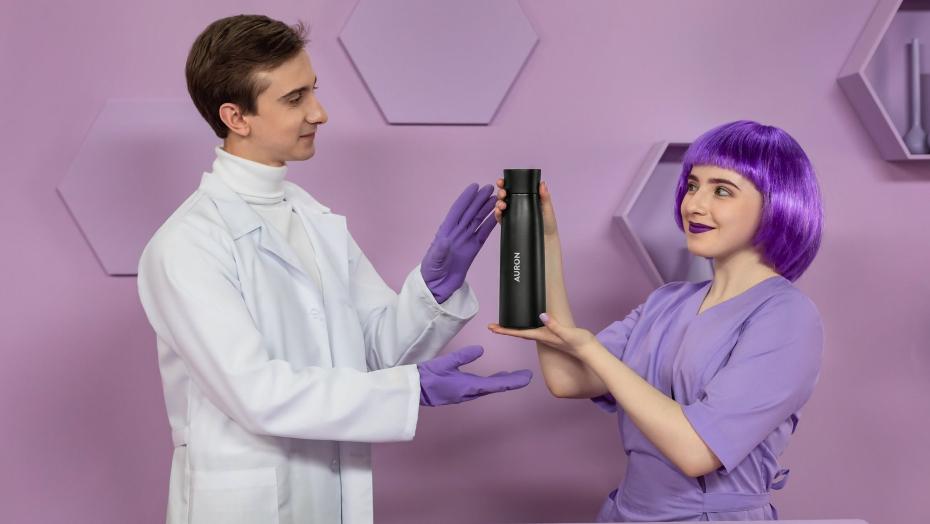 Bottles with UV sterilization auron