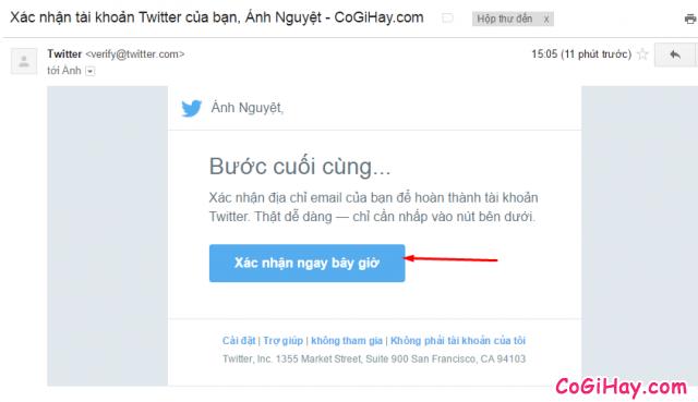 Xác nhận địa chỉ email đăng ký Twitter