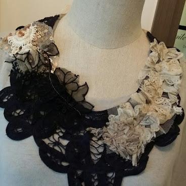 Dark navy cotton lace  crochet collar