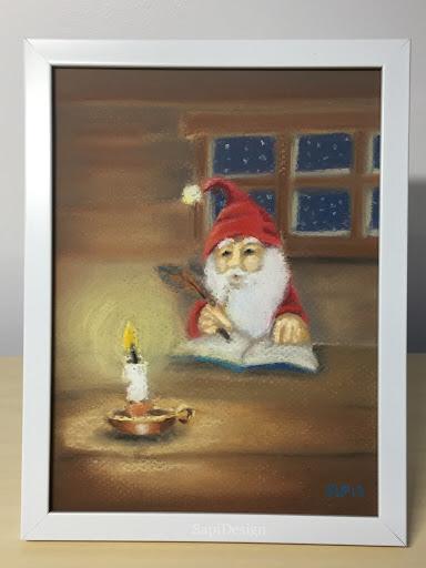 tontu pastelli kuivapastelli maalaus joulu kynttilä tunnelma