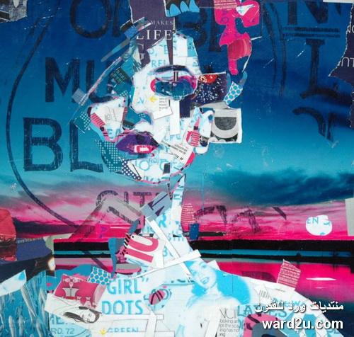 كولاج قصاصات الجرائد لوحات للفنان Patrick Bremer