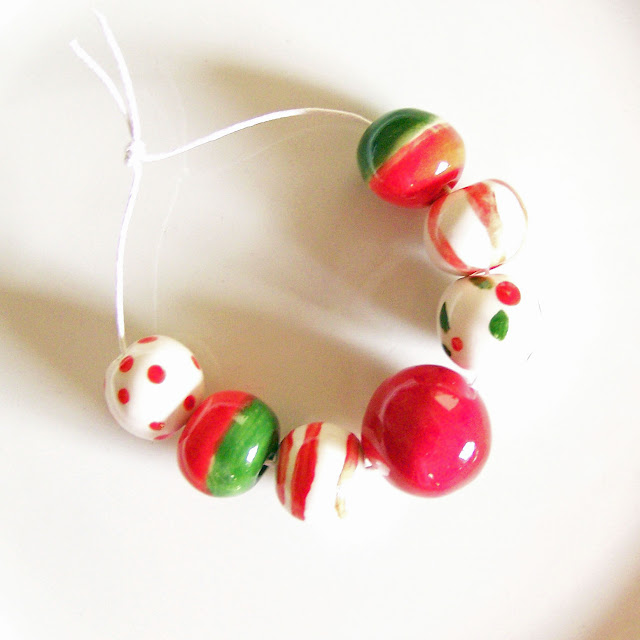 Handmade Ceramic Christmas Bead Set by Earthbutter Beads