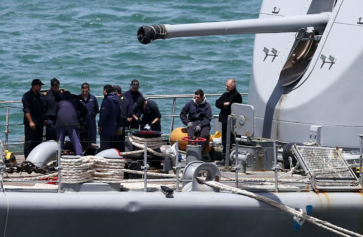 Navy crew work aboard the ARA Sarandi destroyer before leaving to take part in the search for the ARA San Juan submarine, at the Argentinian Naval Base in Mar del Plata, Argentina, on November 21, 2017. Picture: REUTERS