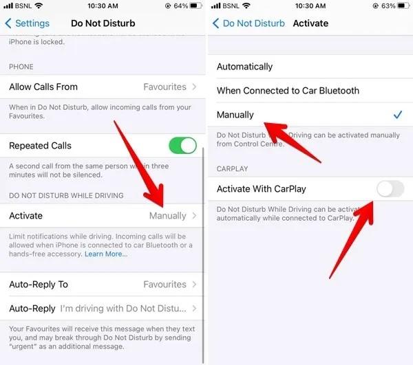 لا تزعج قم بإيقاف تشغيل Iphone Carplay بشكل دائم