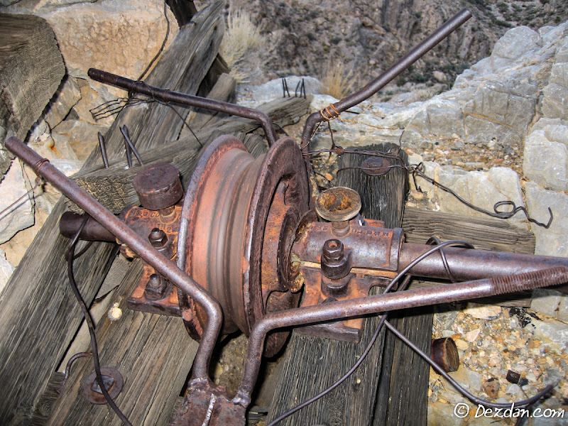 A slack pulley to keep cable slack from dragging across the rocky ridge as tram buckets dropped to the valley floor.