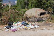Bunkers and garbage, a typical sight in Albania.