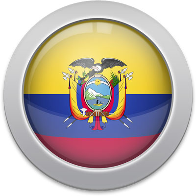 Ecuadorian flag icon with a silver frame