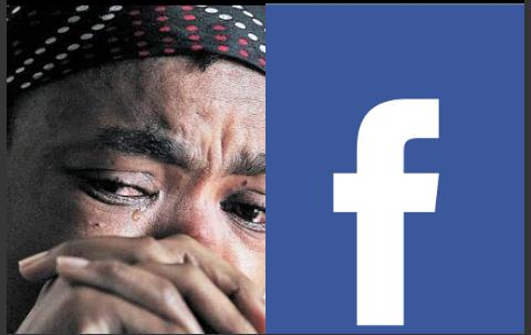 A woman and facebook logo