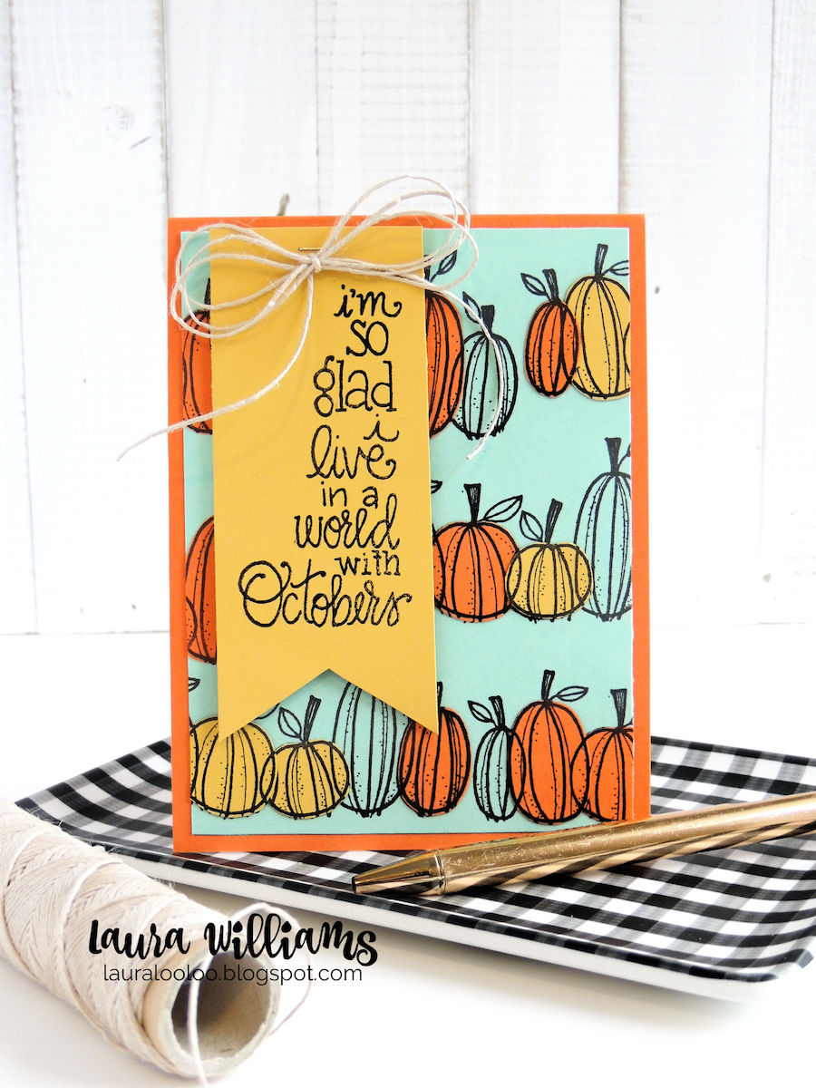 It's not quite October, but I am READY - are you? I've pulled out my fall stamps, and I'm using my favorite fall colors on all  of my projects. I can't ever get enough of this yellow, orange and aqua color palette so let's take a look at today's handmade autumn card.