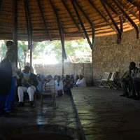 Wedding at the Kgotla, the parents of the bride speak to the Kgosi
