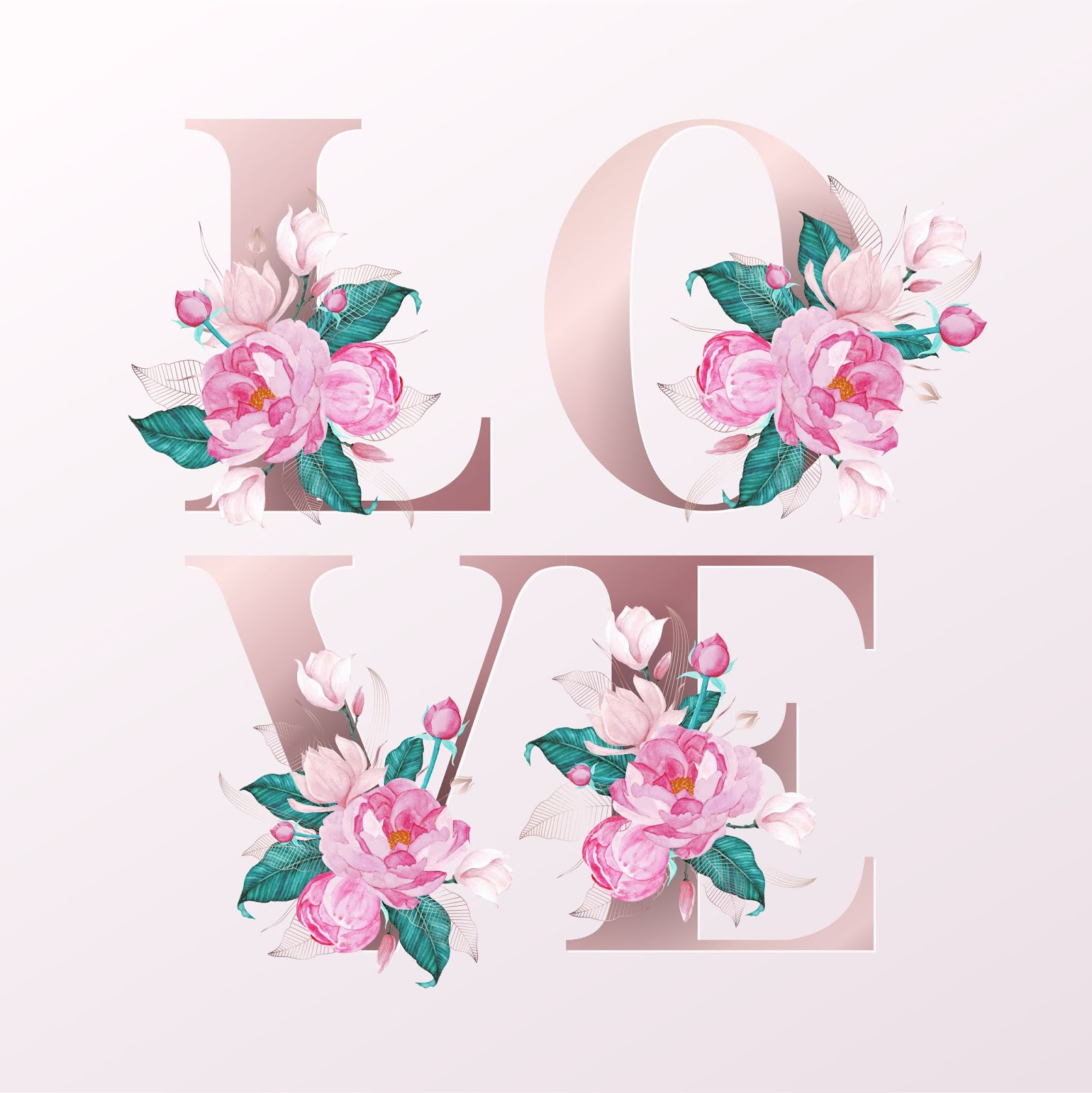 Rose Gold Alphabet Letters Decorated Free Download Vector CDR, AI, EPS and PNG Formats