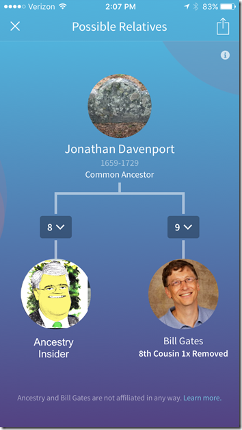 The Ancestry Insider's and Bill Gate's common ancestor