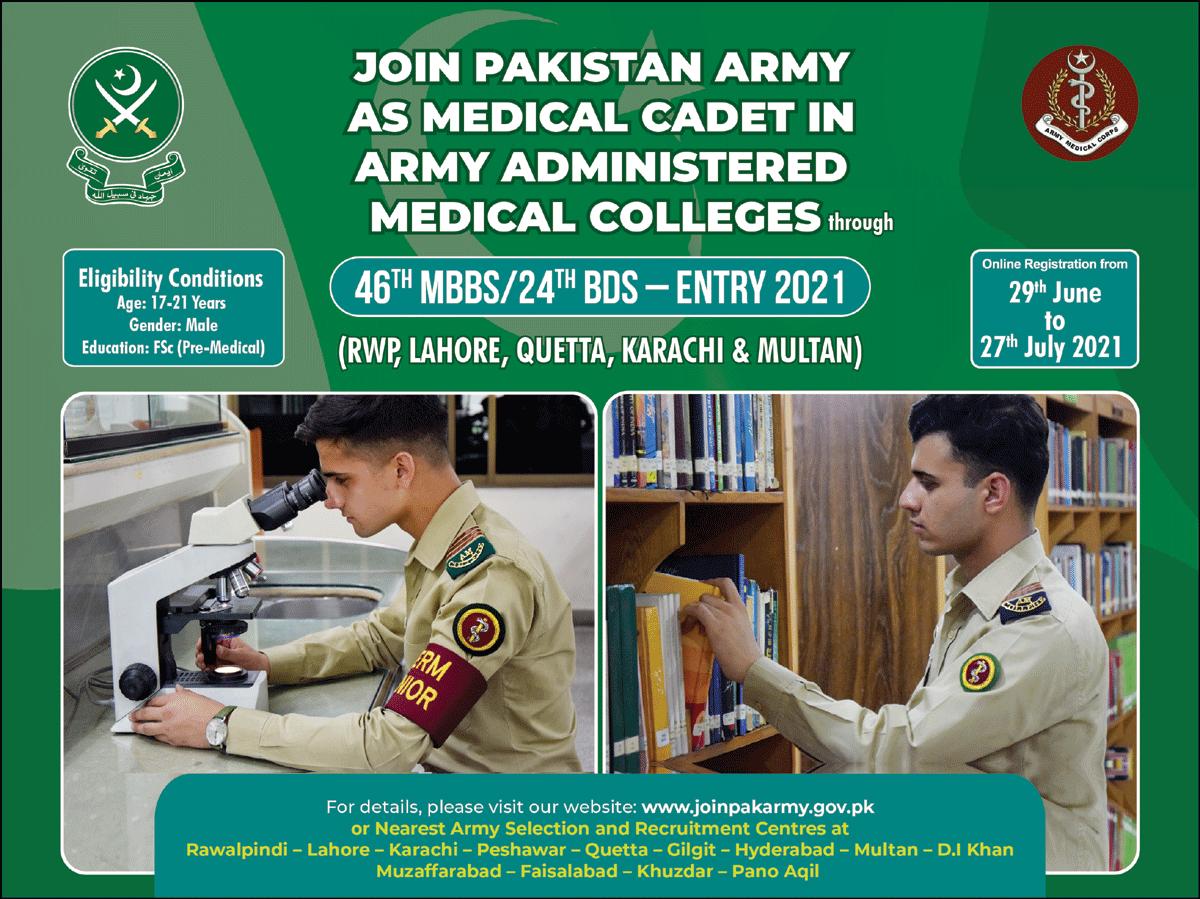 Join Pak Army as Medical Cadet Jobs 2021 Online Registration Start Now