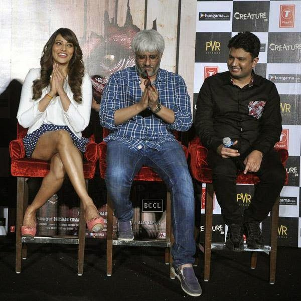 Bipasha Basu, Vikram Bhatt and Bhushan Kumar get clicked during the trailer launch of Bollywood movie Creature 3D, held at PVR, on July 16, 2014.(Pic: Viral Bhayani)