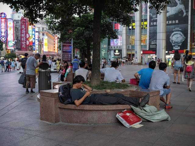 man looking at a mobile phone while resting on a bench