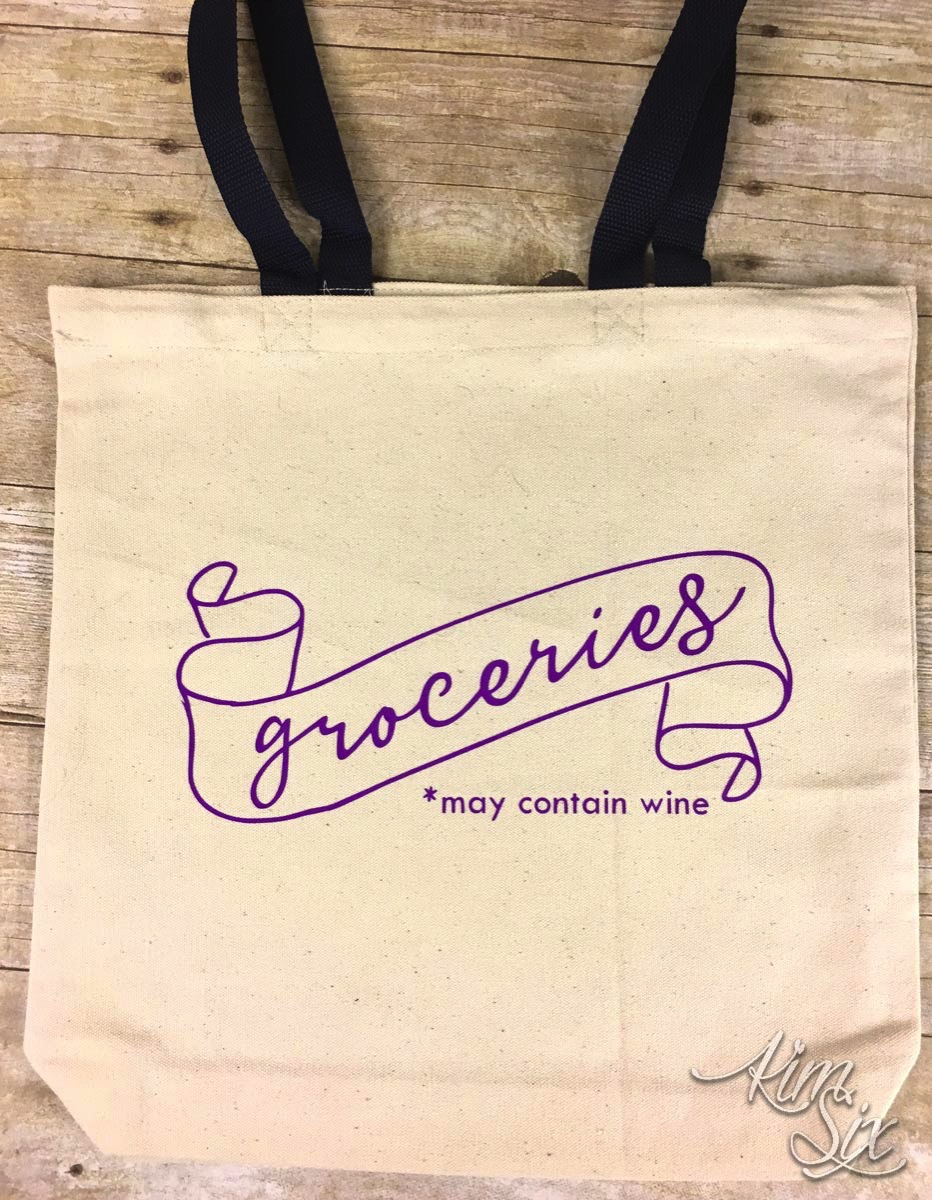 Groceries may contain wine tote bag